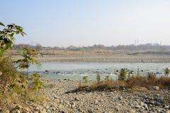 Καλυμμένη κυβόλινθος όχθη ποταμού το ομιχλώδες χειμερινό πρωί στοκ φωτογραφία με δικαίωμα ελεύθερης χρήσης