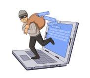 Καλυμμένος διαρρήκτης που πηδά από το σημειωματάριο με την τσάντα του κώδικα στον ώμο του Επίπεδη διανυσματική απεικόνιση Απομονω ελεύθερη απεικόνιση δικαιώματος