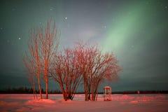 Καλυμμένος των βόρειων φω'των στον ουρανό Στοκ Φωτογραφία
