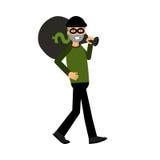 Καλυμμένος χαρακτήρας κλεφτών που φέρνει μια μεγάλη απεικόνιση τσαντών χρημάτων διανυσματική απεικόνιση