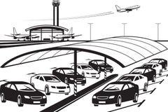 Καλυμμένος χώρος στάθμευσης στο τερματικό αερολιμένων διανυσματική απεικόνιση