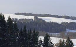 καλυμμένο χιόνι τοπίων λόφων Στοκ εικόνα με δικαίωμα ελεύθερης χρήσης