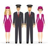 Καλωσορίστε για να ταξιδεψετε με το αεροπλάνο Πειραματικοί, capitan, πετώντας υπάλληλοι, αεροσυνοδός Διανυσματικός χαρακτήρας κιν απεικόνιση αποθεμάτων