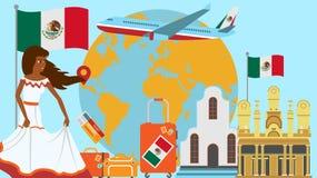 Καλωσορίστε στην κάρτα του Μεξικού Ταξίδι και έννοια ταξιδιών της διανυσματικής απεικόνισης χωρών Latinos με τη εθνική σημαία του ελεύθερη απεικόνιση δικαιώματος