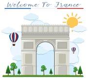 Καλωσορίστε στη Γαλλία arch de triumph Απεικόνιση αποθεμάτων
