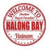 Καλωσορίστε στο σημάδι ή το γραμματόσημο κόλπων Halong διανυσματική απεικόνιση