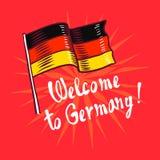 Καλωσορίστε στο υπόβαθρο έννοιας της Γερμανίας, συρμένο χέρι ύφος διανυσματική απεικόνιση