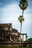 Καλόγριες meditate στην καταστροφή Angkor Wat στην ανατολή Στοκ Εικόνες
