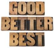 Καλός, καλύτερος, καλύτερα στον ξύλινο τύπο Στοκ Φωτογραφία