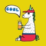 Καλός hand-drawn ανεμιστήρας μονόκερος-ποδοσφαίρου με ένα ποτήρι της μπύρας διανυσματική απεικόνιση