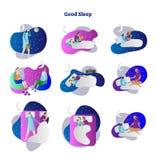 Καλό ή κακό σύνολο συλλογής απεικόνισης ύπνου διανυσματικό Παραδείγματα της απασχόλησης σε δεύτερη εργασία, που διαβάζονται, της  Στοκ εικόνα με δικαίωμα ελεύθερης χρήσης