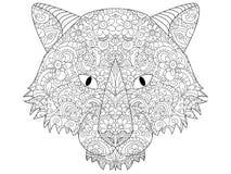 Καλό επικεφαλής χρωματίζοντας ράστερ λύκων για τους ενηλίκους Στοκ εικόνες με δικαίωμα ελεύθερης χρήσης