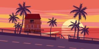 Καλό ηλιοβασίλεμα, θάλασσα, δρόμος, δέντρα, σπίτι με την πρόσδεση, ύφος κινούμενων σχεδίων, διανυσματική απεικόνιση Στοκ εικόνες με δικαίωμα ελεύθερης χρήσης
