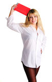 καλό κόκκινο whith κοριτσιών β& Στοκ εικόνα με δικαίωμα ελεύθερης χρήσης