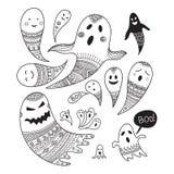 Καλό παιδαριώδες σύνολο έννοιας αποκριών με τα φαντάσματα για το χρωματισμό Στοκ Εικόνα
