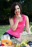 καλό picnic κοριτσιών brunette στοκ εικόνες