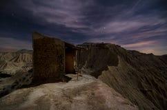 Καλύβα ποιμένων στη νύχτα ερήμων Στοκ Εικόνες