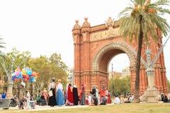 Καλύπτει την ενισχυτική ανεξαρτησία της Καταλωνίας από Arc de Triomf στη Βαρκελώνη Στοκ Εικόνες