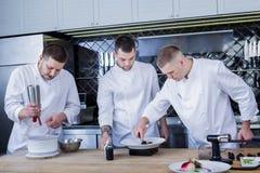 Καλύτερα νέοι μάγειρες που εξετάζουν τη μοριακή γαστρονομία στοκ εικόνα