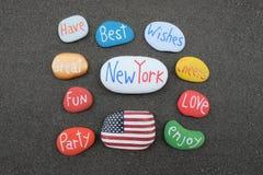 Καλύτερες ευχές από τη Νέα Υόρκη, Ηνωμένες Πολιτείες της Αμερικής με τις χρωματισμένες πέτρες Στοκ Φωτογραφία