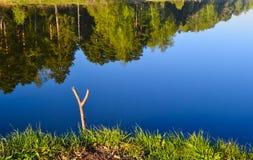 Καλύτερη θέση για την αλιεία Πρωί σε μια δασική λίμνη Κάτοχος αλιεύοντας πόλων Στοκ φωτογραφία με δικαίωμα ελεύθερης χρήσης