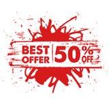 Καλύτερη προσφορά 50 τοις εκατό μακριά στο κόκκινο έμβλημα Στοκ Φωτογραφίες