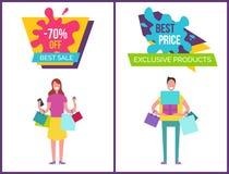 -70 καλύτερη πώληση και αποκλειστική διανυσματική απεικόνιση Στοκ εικόνες με δικαίωμα ελεύθερης χρήσης