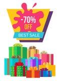 Καλύτερη πώληση με 70 από την αφίσα με τα κιβώτια δώρων Στοκ φωτογραφίες με δικαίωμα ελεύθερης χρήσης