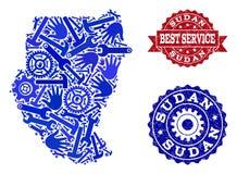 Καλύτερη σύνθεση υπηρεσιών του χάρτη των γραμματοσήμων του Σουδάν και Grunge διανυσματική απεικόνιση