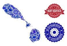 Καλύτερη σύνθεση υπηρεσιών του χάρτη των Σαιντ Κιτς και Νέβις και των κατασκευασμένων υδατοσήμων διανυσματική απεικόνιση