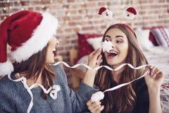 Καλύτεροι φίλοι κατά τη διάρκεια του χρόνου Χριστουγέννων Στοκ Εικόνες