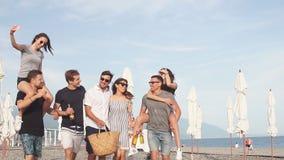 Καλύτεροι φίλοι Ομάδα νέων που περπατούν στην παραλία απόθεμα βίντεο