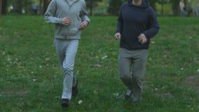 Καλύτεροι φίλοι που κατά μήκος του πάρκου, ενεργός καρδιο κατάρτιση, υγιής τρόπος ζωής απόθεμα βίντεο