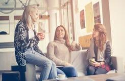καλύτεροι φίλοι τρία Νέες γυναίκες που έχουν τη συνομιλία Στοκ Εικόνες