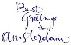 Καλύτεροι χαιρετισμοί από την εγγραφή χεριών του Άμστερνταμ, καλλιγραφία, τυπογραφία Διανυσματική απεικόνιση