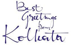 Καλύτεροι χαιρετισμοί από την εγγραφή χεριών Kolkata, καλλιγραφία, τυπογραφία Διανυσματική απεικόνιση