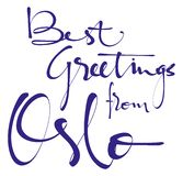 Καλύτεροι χαιρετισμοί από την εγγραφή Oslohand, καλλιγραφία, τυπογραφία Διανυσματική απεικόνιση