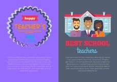 Καλύτερος δάσκαλος δύο αφισών στη διανυσματική απεικόνιση ελεύθερη απεικόνιση δικαιώματος