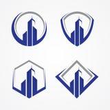 Καλύτερο δημιουργικό σύμβολο οικοδόμησης απεικόνισης με μερικά πλαίσια για την επιχείρηση ακίνητων περιουσιών διανυσματική απεικόνιση