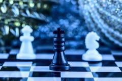 Καλύτερο επιτραπέζιο παιχνίδι για ένα σκάκι βραδιού οικογενειακών Χριστουγέννων Στοκ Εικόνες