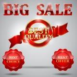Καλύτερο προσφοράς ή επιλογής πώλησης ετικετών διακριτικό μετάλλων μεταλλίων καθορισμένο με το κόκκινο στοιχείο σχεδίου κορδελλών Στοκ εικόνα με δικαίωμα ελεύθερης χρήσης