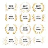 Καλύτερο σύνολο στεφανιών δαφνών βραβείων βραβείων διανυσματικό χρυσό Ετικέτα νικητών, νίκη συμβόλων φύλλων, θρίαμβος και σύνολο  διανυσματική απεικόνιση