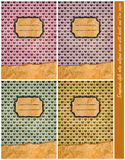 καλύψεις τέσσερα αναδρομικό ύφος λευκώματος αποκομμάτων σημειωματάριων στοκ φωτογραφίες