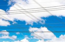 Καλώδιο με το μπλε ουρανό και νεφελώδης Στοκ Εικόνες