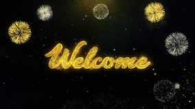Καλώς ήρθατε γραπτά χρυσά μόρια που εκρήγνυνται την επίδειξη 1 πυροτεχνημάτων φιλμ μικρού μήκους