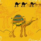 καμήλα και τροχόσπιτο στο σχέδιο ερήμων ελεύθερη απεικόνιση δικαιώματος