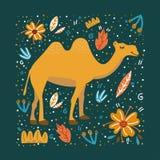 Καμήλα στο πράσινο υπόβαθρο με τα λουλούδια και τα φύλλα απεικόνιση αποθεμάτων