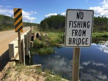 Καμία αλιεία από το σημάδι γεφυρών Στοκ Φωτογραφίες
