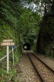 Καμία διαδρομή σημαδιών και σιδηροδρόμων εισόδων σε μια σήραγγα Στοκ Εικόνα