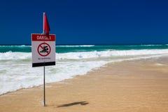 Καμία κολυμπώντας σημαία στην παραλία στην Αυστραλία Στοκ φωτογραφία με δικαίωμα ελεύθερης χρήσης